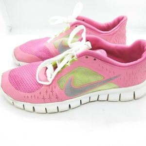 Nike Free Run 3 Kids Size 5Y Pink Green